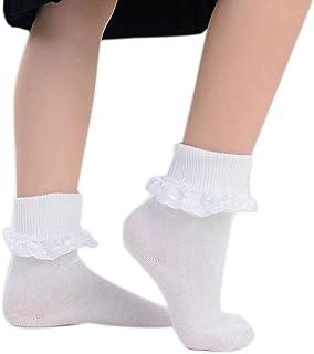 adam & eesa, 6 pares de calcetines escolares de encaje blanco con volantes para damas y niñas - 3 estilos