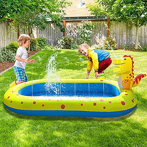 Exnemel 170 x 105 cm, piscina gonfiabile, Splash Pad, tappetino da gioco per patio, colore: blu