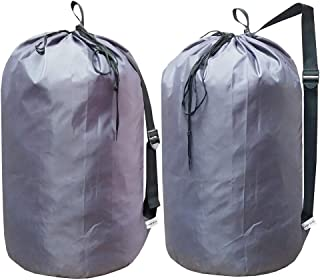 UniLiGis Laundry Bag Backpack with Strap, Nylon Dirty Clothes Shoulder Bag with Drawstring Closure, Tear Proof WashableLaundry Liners for Travel,Dorm Room,Dia 15x27 inches,Grey 2Pack