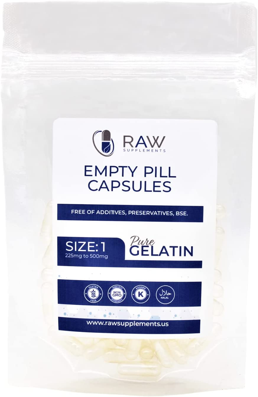 Raw Supplements Empty Cheap SALE 2021 model Start Gelatin Pill 100ct 1 Capsules Size