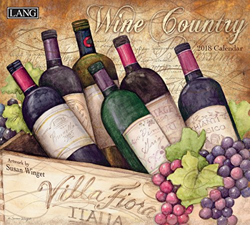"""LANG - 2018 Wall Calendar - """"Wine Country"""" - Artwork By Susan Winget - 12 Month - Open, 13 3/8"""" X 24"""""""