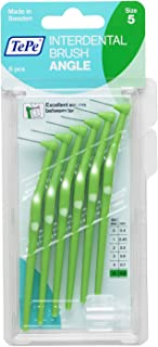 TEPE Interdental Brush Angle (ISO size 5), Green, 6 Count, 0.8mm (154660)