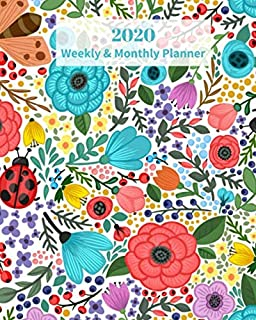 2020 Weekly and Monthly Planner: Floral Design with Butterfly and Ladybugs - Monthly Calendar with U.S./UK/ Canadian/Christian/Jewish/Muslim Holidays– ... 8 x 10 in.-  Flower Nature Tree Gardening