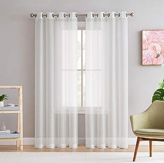 "Best HLC.ME 2 Piece Premium Sheer Voile Window Grommet Short Curtain Panels for Bathroom & Kitchen - 54"" W x 45"" L - Ivory Reviews"