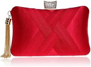 Redland Art Women's Fashion Polyester Woven Mini Clutch Bag Shoulder Wristlet Crossbody Evening Handbag Purse Catching Bag for Wedding Party (Color : Red)