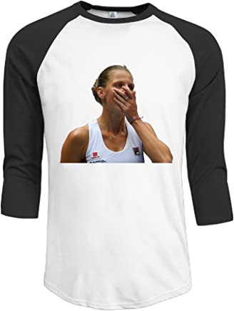 SunzioSet Men's Kristyna Pliskova 2016 U.S. Open Half Sleeve Baseball T Shirts