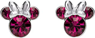 Minnie Mouse Birthstone Jewelry, Silver Plated Crystal...