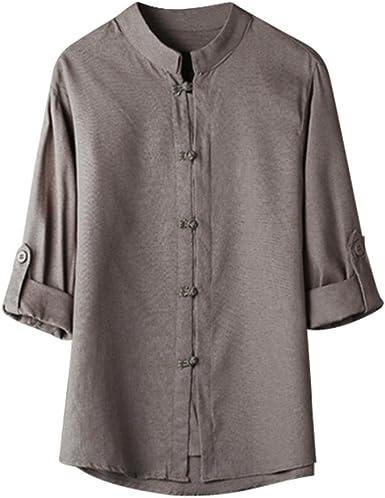 Camisas de Hombres,Dragon868 Blusa de Lino Chino clásico del Estilo 3/4 de la Manga para los Hombres