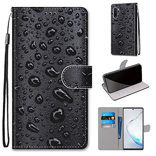 Miagon PU Cuir Coque pour Samsung Galaxy Note 10 Plus,Coloré Motif Portefeuille Étui Housse Cover avec Stand Support Porte-Cartes de Crédit,Eau Gouttes