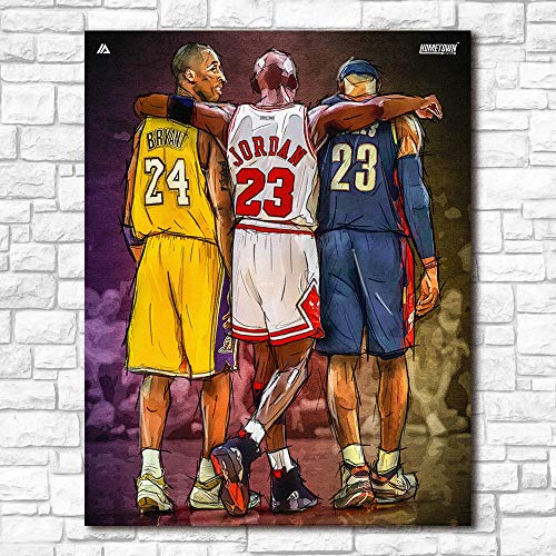 WADPJ Wall Art Print Michael Jordan Kobe Bryant Lebron James NBA Canvas Painting Poster Picture Living Room Home Decor-50x70cmx1 Piezas sin Marco