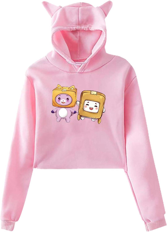 Lankybox Merch Lankybox Boxy Hoodie Cat Ear Teen Hooded Printed Hoodie Sweatshirt Casual Fashion Design for Youth Girls
