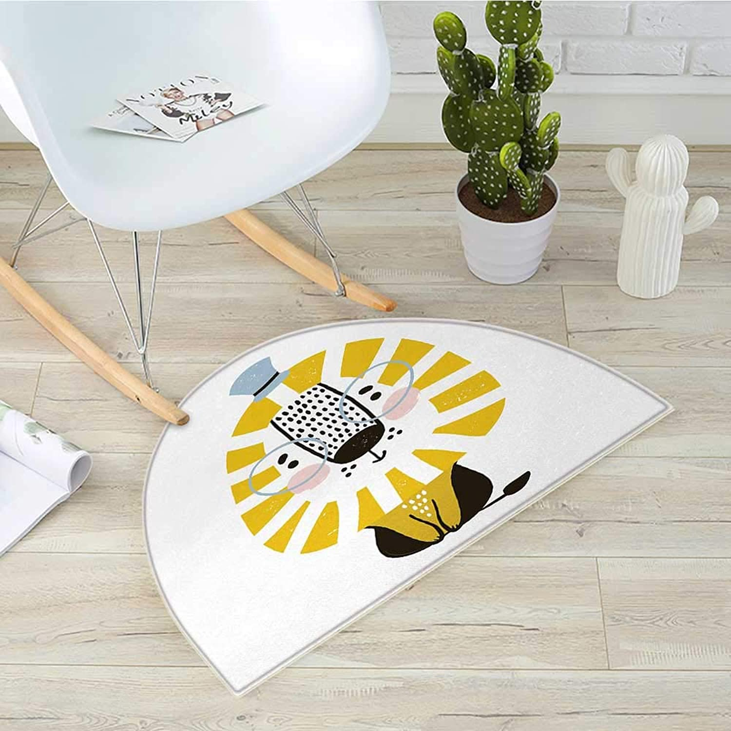 Lion Semicircular CushionDoodle Style Jungle Animal with Mane Glasses and Hat Funny Animal Cartoon Entry Door Mat H 39.3  xD 59  Pale bluee Yellow Black