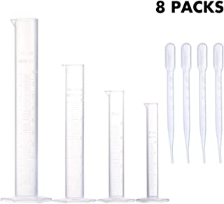 مجموعه سیلندرهای اندازه گیری Young4us ، لوله آزمایش آزمایشگاهی پلی پروپیلن با اندازه 4 درجه در 100 میلی لیتر ، 50 میلی لیتر ، 25 میلی لیتر ، 10 میلی لیتر برای آزمایشگاه ، آزمایش های علمی با 4 قطره پلاستیک در 3 میلی لیتر