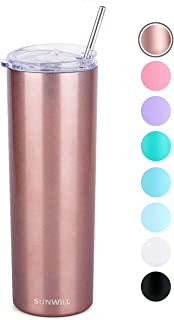 SUNWILL Straw Tumbler Skinny Travel Tumbler with Lid, Vacuum Insulated Double Wall Stainless Steel 20oz for Coffee, Tea, Beverages, Rose Gold