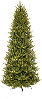 Puleo International 12 Foot Pre-Lit Slim Fraser Fir Artificial Christmas Tree with 1,200 UL Listed Clear Lights, Green