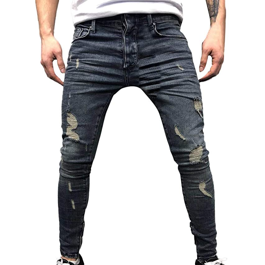 Corriee Mens Fashion Zipper Jeans Mens Daily Tight Cuffs Trousers Vintage Comfy Skinny Denim Pant