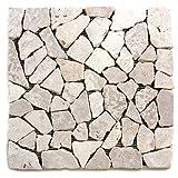 Divero 11 Fliesenmatten Naturstein Mosaik aus Marmor für Wand und Boden cremeweiß á 30 x 30 cm