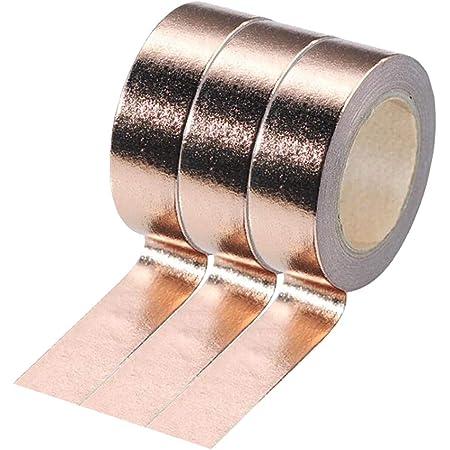 16 Feet PEACH ROSE GARDEN Gold Foil Washi Tape ~ 1 Roll ~ 15mm x 5m