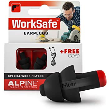 Alpine WorkSafe Reusable Ear Plugs - Hearing Protection Earplugs for Work & DIY - Construction Ear Plugs with Free Safety Cord - Comfortable Hypoallergenic Ear Protection