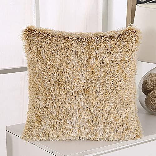 Conjunto de 2 cubros de cojín de terciopelo aplastados de decoración del hogar, 18x18 pulgadas de largo Tiro de terciopelo Cubiertas de almohadas con cremallera invisible para sillas de jardín caqui