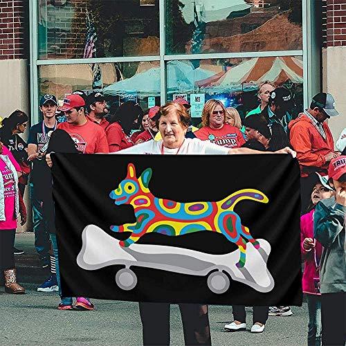 fingww Fahne Hund Auf Dem Skateboard Dekorative 150X90Cm Yard Banner Yard Flag Gartenflagge Willkommen Im Freien Feiertage Drucken Lebendig