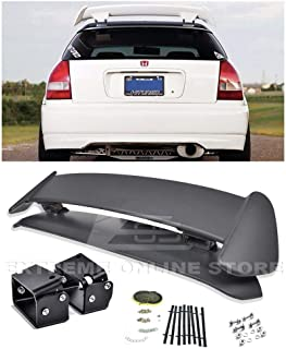 Extreme Online Store for 1996-2000 Honda Civic EK9 3Dr Hatchback | EOS Type-R Style JDM ABS Plastic Primer Black Rear Roof Top Wing Spoiler with Textured Black Alex Tilt Riser Bracket