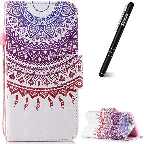 Slynmax - Funda de piel con tapa para iPhone 6S y iPhone 6 (incluye lápiz capacitivo), color negro, Gradual Mandala