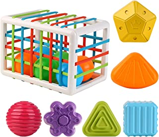 Baby Shape Sorting Toy Sensory Shape Sorting Toys with Elastic Bands Colorful Shapes Sorter Sorting for Ages 24 Months and...