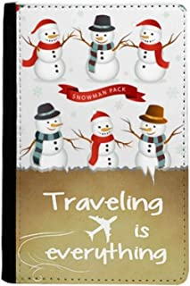 Merry Christmas Snowflake Snowman Traveling quato Passport Holder Travel Wallet Cover Case Card Purse