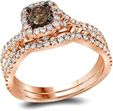 Sonia Jewels 14k Rose Gold Round Chocolate Brown Diamond Bridal Wedding Engagement Ring Band Set 1Cttw