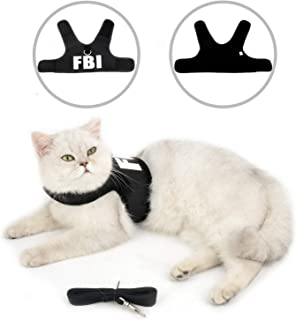SELMAI FBI Cat Harness and Leash Escape Proof Soft Mesh No Pull Padded Vest for Puppy Small Dogs Adjustable Lead for Kitten Walking Jacket Easy on Vest Harness for Chihuahua Yorkie Mini Breed