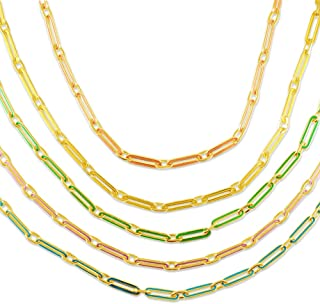 """AFFY Paper Clip Enamel Color 14"""" Long + 2"""" Adjustable Link Chain Necklace in 14K Yellow Gold Plated Lady Clavicle Chain Je..."""
