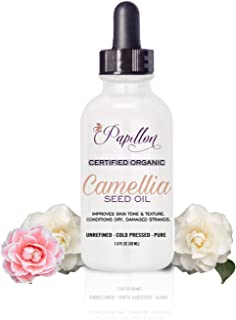 Papillon 100% Pure Camellia Oil. Organic Cold Pressed With Natural Omega-9 & Rich Anti-Oxidants For Anti-Ageing. With Vitamins For Vibrant Skin, Hair & Nails. Reduces Scars & Stret