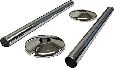 RADSNAPS 2 x CHROME RADIATOR PIPE COVERS & 2 COLLARS