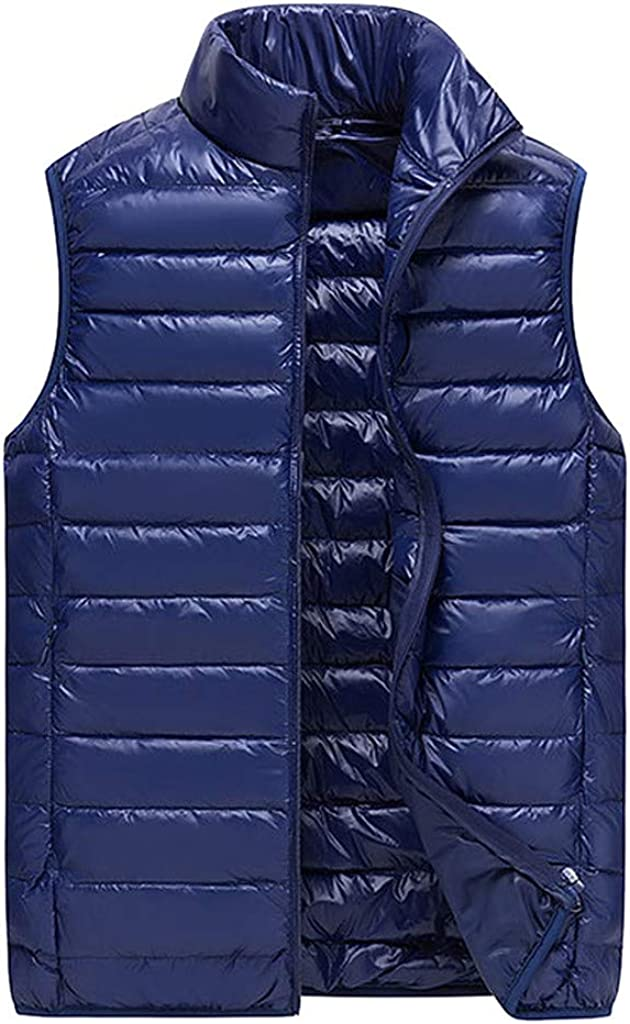 Mens Vests, F_Gotal Men's Cotton Down Vest Winter Casual Work Sports Travel Outdoor Thick Padded Puffer with Pockets