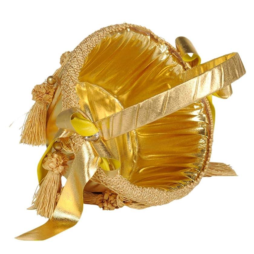 ペレグリネーション試してみる切り刻むPerfeclan フラワーバスケット かご ホワイトサテン 結婚式 2色選べ - ゴールド