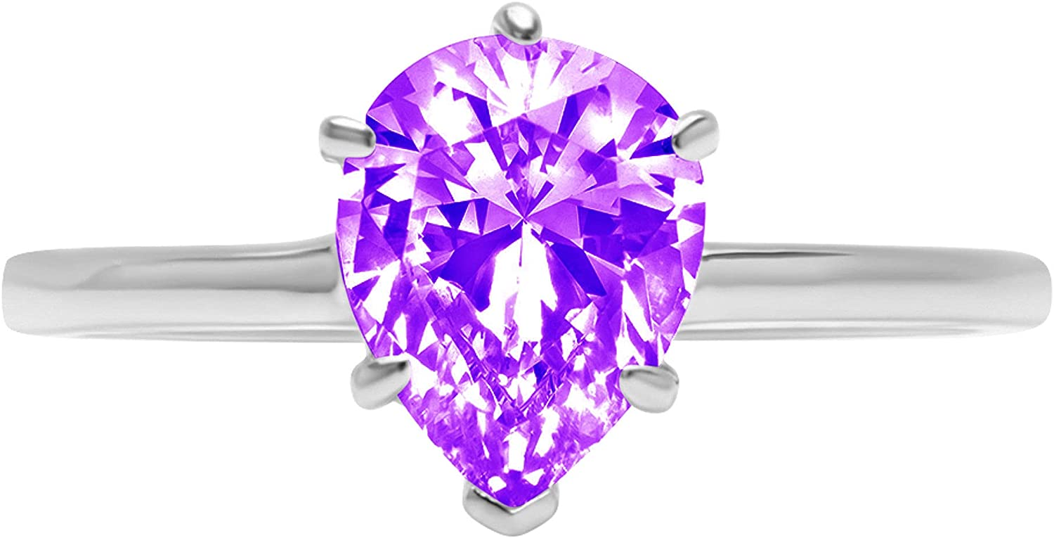 2.4ct Brilliant Pear Cut Solitaire Natural Purple Amethyst Ideal VVS1 6-Prong Engagement Wedding Bridal Promise Anniversary Ring Solid 14k White Gold for Women