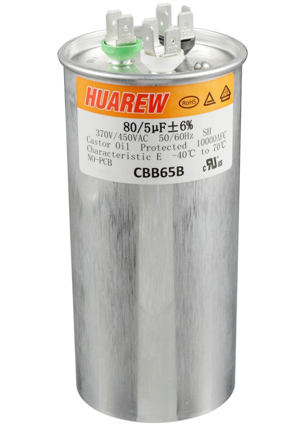 HUAREW 80+5 uF ±6% 80/5 MFD 370/450 VAC CBB65 Dual Run Start