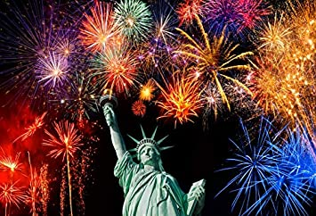 Leowefowa 10x8ft Statue of Liberty Backdrop Sparkling Fireworks Sky Backgroud American July 4Th Independence Day Vinyl Photography Backdrops USA Labor Day Presidents Day Patriotic Celebration