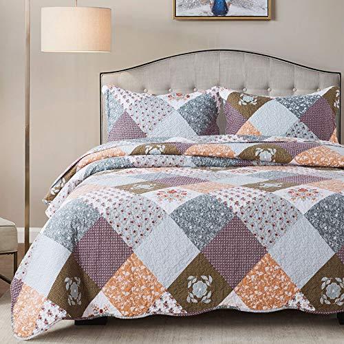 HoneiLife Bettwäsche-Set für King-Size-Betten, 3-teilig, Mikrofaser, wendbar, Patchwork-Bettwäsche-Set, leicht, Blumenmuster, Tagesdecke, für alle Jahreszeiten, Kaffeebraun