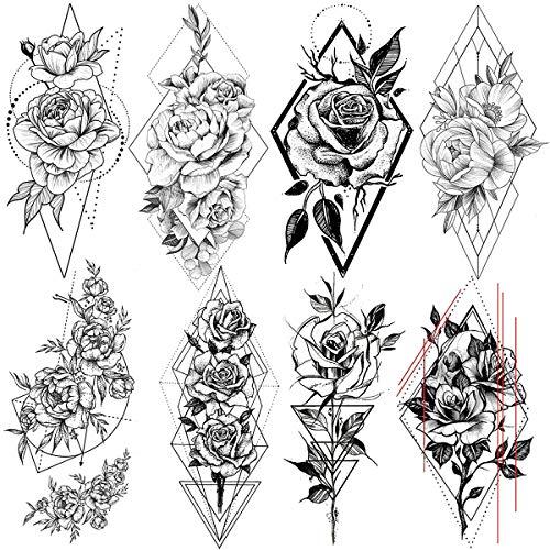 LAROI 8 Hojas Flor De Peonía Rosa Grande Tatuajes Temporales Adultos Mujer Geometría Negra Impermeable Falso Tatuaje Temporal Minimalista Triángulo Delta Cuerpo Brazo Piernas Diamante Geométrico