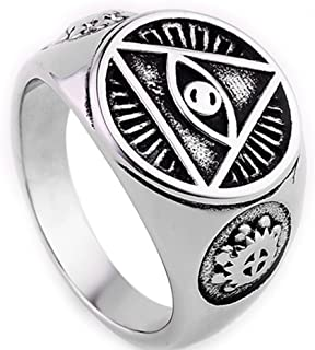 Stainless Steel All Seeing Eye of God Ring