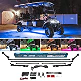 LEDGlow 4pc Expandable Million Color LED 6 Seater Limo Golf Cart Underglow Accent Neon Lighting Kit for EZGO Yamaha Club Car - Fits Electric & Gas Golf Carts - Water Resistant Flexible Tubes