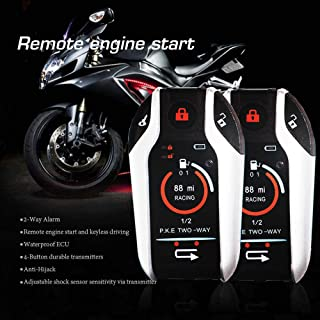 Two Way Motorcycle Alarm Device Anti-theft Security System Remote Engine Automatically Lock/Unlock for Scooter Motorbike U...
