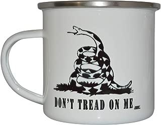 Gadsden Don't Tread on Me Camp Mug Enamel Camping Coffee Cup Gift For Military Veteran or Patriotic American