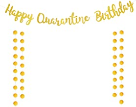 Happy Quarantine Birthday Banner, Stay Home Birthday Party, Social Distancing Lockdown Decorations for Garland Sign for Bo...