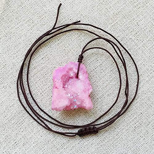 huangshuhua Collares Pendientes de Piedra para Mujer Collares Pendientes de Cuarzo Rosa de Piedras Preciosas Naturales Irregulares con Adornos de Cadena de Cuerda