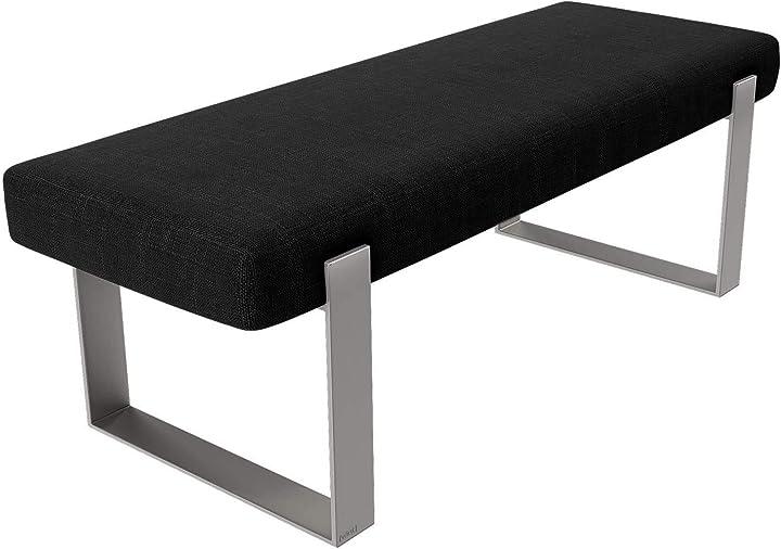 Vant imbottito camera da letto panca - soggiorno & sala ottomano -158 kg peso capacità (tessere acciaio nero) VA-BN-NWBL