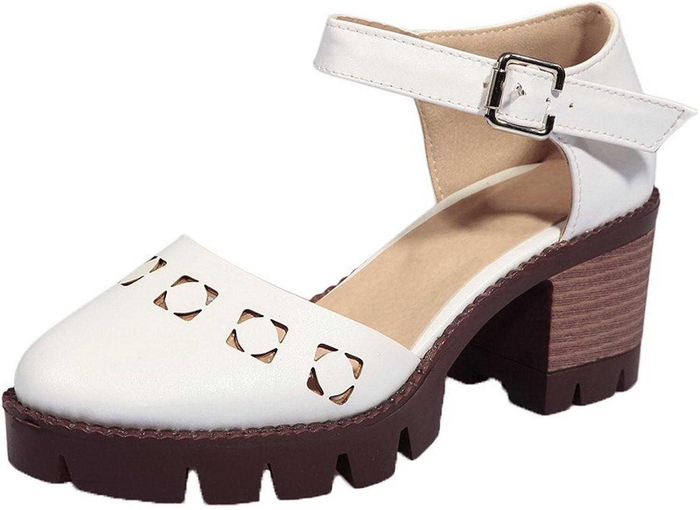 AllhqFashion Women's PU Kitten-Heels Buckle Solid Sandals