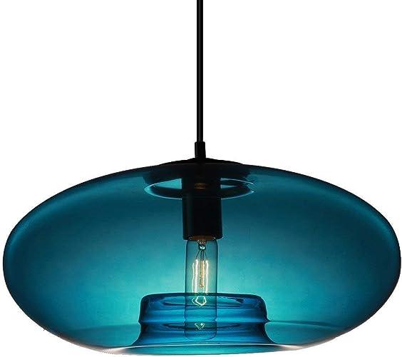Lustres ronds créatifs, Nordic LED en verre bleu d'éclairage plafonniers décoratifs modernes minimaliste salon bar table à hommeger pendentif lumière (taille   28  15cm)